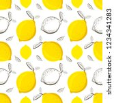 lemon seamless pattern.... | Shutterstock .eps vector #1234341283