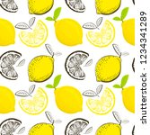 lemon seamless pattern.... | Shutterstock .eps vector #1234341289