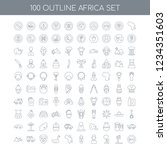 100 africa universal icons set... | Shutterstock .eps vector #1234351603
