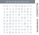 100 religion universal icons... | Shutterstock .eps vector #1234351756