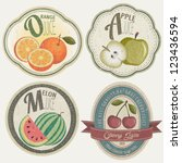 vintage label collection with... | Shutterstock .eps vector #123436594