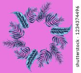 wreath of tropical leaves. | Shutterstock .eps vector #1234374496