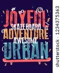 skateboard poster colorful kids ... | Shutterstock .eps vector #1234375363