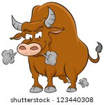 angry brown bull illustration