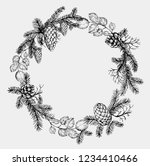 pine wreath with cone and fir... | Shutterstock .eps vector #1234410466