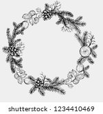 pine wreath with cone and fir... | Shutterstock .eps vector #1234410469