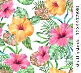 Tropical Floral Pattern Flower...