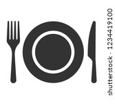 plate icon vector. fork and... | Shutterstock .eps vector #1234419100