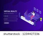 isometric man  woman in virtual ...   Shutterstock .eps vector #1234427236