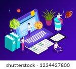isometric man  woman in virtual ...   Shutterstock .eps vector #1234427800