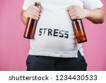 stress  beer belly  eating... | Shutterstock . vector #1234430533