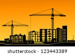 working cranes on building for... | Shutterstock . vector #123443389