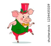 funny cute pig is dancing. the... | Shutterstock .eps vector #1234435339