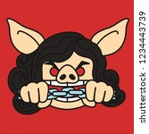 emoji with wicked pig woman...   Shutterstock .eps vector #1234443739