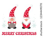 cartoon christmas gnome boy and ... | Shutterstock .eps vector #1234449070