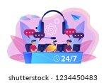 customer service operators with ... | Shutterstock .eps vector #1234450483