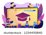 students with laptops studying...   Shutterstock .eps vector #1234450840
