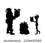 silhouette santa and elf put... | Shutterstock .eps vector #1234455583