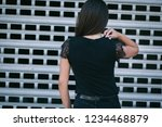 a brunette female with long... | Shutterstock . vector #1234468879
