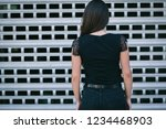 a brunette female with long... | Shutterstock . vector #1234468903