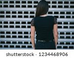 a brunette female with long... | Shutterstock . vector #1234468906