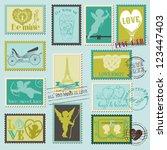 vintage love valentine stamps   ... | Shutterstock .eps vector #123447403