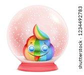 cartoon unicorn rainbow emoji... | Shutterstock .eps vector #1234492783