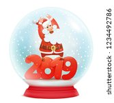 snow globe with santa claus.... | Shutterstock .eps vector #1234492786