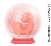 pink unicorn cartoon character... | Shutterstock .eps vector #1234492789