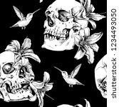 seamless pattern. human skulls... | Shutterstock .eps vector #1234493050