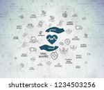 insurance concept  painted blue ...   Shutterstock . vector #1234503256
