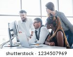 young employees sitting in the... | Shutterstock . vector #1234507969