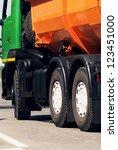 orange dump truck chassis close ... | Shutterstock . vector #123451000