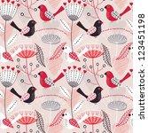romantic seamless floral pattern | Shutterstock .eps vector #123451198