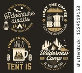 home is where you tent is. wild ... | Shutterstock .eps vector #1234519153