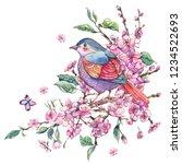 watercolor floral spring... | Shutterstock . vector #1234522693