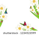daffodils with butterflies... | Shutterstock .eps vector #1234523599
