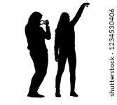 silhouettes woman taking selfie ... | Shutterstock .eps vector #1234530406