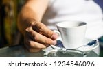 coffe time. hand of man hold... | Shutterstock . vector #1234546096
