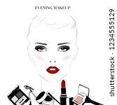 makeup tutorial  classic makeup ... | Shutterstock .eps vector #1234555129
