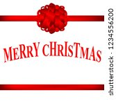 red christmas bow with holly on ... | Shutterstock . vector #1234556200