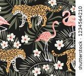 tropical leopard animals  pink... | Shutterstock .eps vector #1234564210