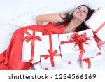 closeup. happy beautiful woman... | Shutterstock . vector #1234566169