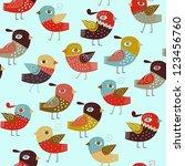 seamless pattern birds | Shutterstock .eps vector #123456760