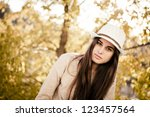 portrait of a thoughtful woman... | Shutterstock . vector #123457564