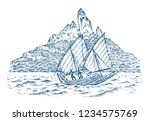 sailboat in the sea on a... | Shutterstock .eps vector #1234575769