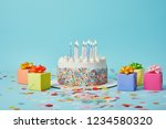 delicious cake with candles ... | Shutterstock . vector #1234580320