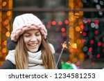 charming blonde woman wearing... | Shutterstock . vector #1234581253