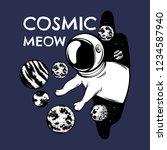 cosmic meow. vector hand drawn... | Shutterstock .eps vector #1234587940