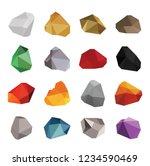 set of color rocks  salt gold... | Shutterstock .eps vector #1234590469